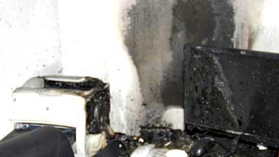 جانب من حريق في احد مكاتب وزارة الخارجية