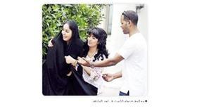 - مع المخرج دحام الشمري في أحد المشاهد