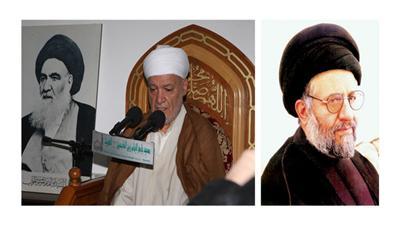 السيد أبوالقاسم الديباجي - الشيخ محمد الدماوندي وتبدو صورة الفقيد السيد الخوئي