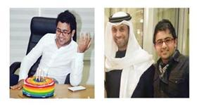 فؤاد والأب الروحي الفنان فايز السعيد - عبدالواحد متفاجئاً بكيكة عيد ميلاده
