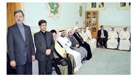 السفير الإيراني والملحق الثقافي والسفير محمد باقر المهري والنائب فيصل الدويسان وعدد من رجال الدين