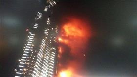 بالفيديو والصور - حريق ضخم في فندق «ذي أدرس» بدبي