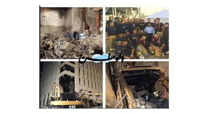 انتشال جثة عامل إيراني من بين أنقاض مبنى الخطوط الجوية الكويتية القديم