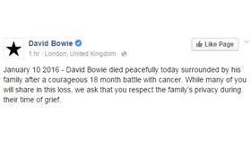 وفاة المطرب ديفيد بوي بعد صراع مع مرض السرطان