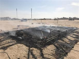 حريق خيمة مقابل منطقة سعد العبدالله