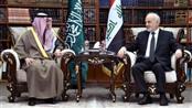 وزير الخارجية السعودي عادل الجبير خلال اجتماعه مع نظيره العراقي ابراهيم الجعفري