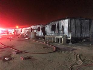 الأركان: إخماد حريق بسكن للعمال في معسكر الذخيرة بمنطقة الجليعة دون اصابات