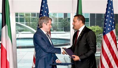 جانب من مراسم توقيع خطاب النوايا بين الكويت وامريكا بهدف تعزيز التعاون في الامن السيبراني
