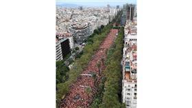 مظاهرة مليونية في شوارع برشلونة للمطالبة بالاستقلال