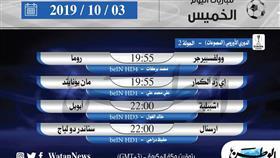 أبرز المباريات العالمية ليوم الخميس 3 أكتوبر 2019