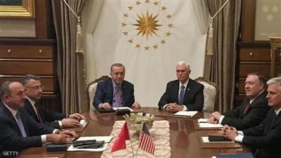 نائب الرئيس الأمريكي مايك بنس والرئيس التركي رجب طيب أردوغان
