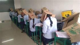 بالكرتون.. طريقة هندية غريبة لمنع الغش في الامتحانات
