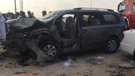 وفاة مواطن وانحشار ٧ في حادث تصادم مركبتين بـ«جواخير الوفرة»