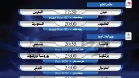 أبرز المباريات العربية والعالمية ليوم الأربعاء 27 نوفمبر 2019