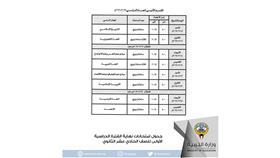 جدول الامتحانات