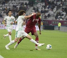 جانب من مباراة العراق وقطر