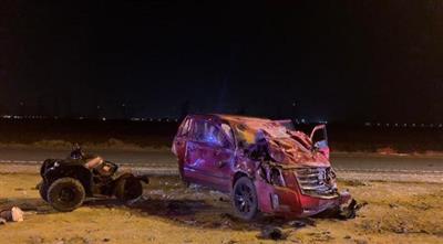 مصرع مواطن وإصابة 2 آخرين في حادث تصادم بين مركبة ودراجة نارية على طريق الزور ٢٧٠