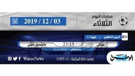 أبرز المباريات العالمية ليوم الثلاثاء 3 ديسمبر 2019