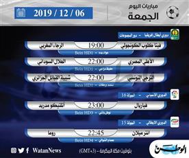 أبرز المباريات العالمية ليوم الجمعة 6 ديسمبر 2019