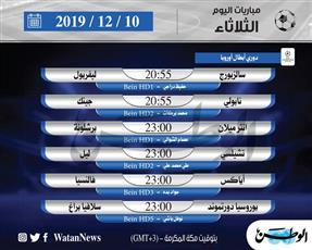 أبرز المباريات العالمية ليوم الثلاثاء 10 ديسمبر 2019