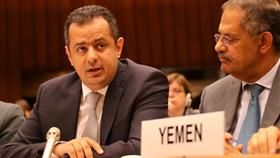 رئيس الوزراء اليمني ومعه مندوب اليمن بالأمم المتحدة في جنيف خلال مؤتمر دعم الاستجابة الانسانية