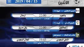 أبرز المباريات العربية والعالمية ليوم الاثنين 15 أبريل 2019