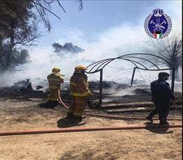 ثلاثة فرق للإطفاء سيطرت على حريق سكن عمال في مزرعة بالصليبية الزراعية
