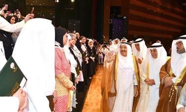 سمو الأمير الشيخ صباح الأحمد الجابر الصباح خلال حفل تكريم المعلمين والمدارس المتميزة