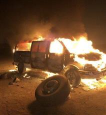 تفحم مركبة بالقرب من منطقة ميناء عبدالله
