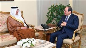 الرئيس المصري خلال لقائه سفير المملكة العربية السعودية بالقاهرة أسامة نقلي
