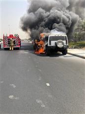 حريق يلتهم مركبة على طريق الملك فيصل.. ولا إصابات