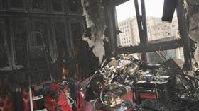 اخماد حريق شقة في عمارة بمنطقة الفراونية