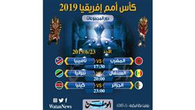 جدول مباريات اليوم الأحد في بطولة أمم أفريقيا مصر 2019
