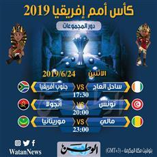 جدول مباريات اليوم الاثنين في بطولة أمم أفريقيا مصر 2019