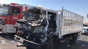 إصابة قائد هاف لوري في حادث تصادم مع حافلة نقل ركاب على «الغزالي»