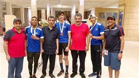 لاعبو المنتخب الكويتي الفائزين بالميداليات بالبطولة العربية للناشئين لالعاب القوى