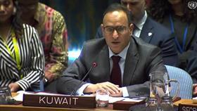 المندوب الدائم لدولة الكويت يلقي كلمة أمام جلسة لمجلس الأمن
