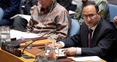 مندوب الكويت لدى الأمم المتحدة يلقي كلمة أمام مجلس الأمن