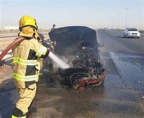 السيطرة على حريق مركبة على طريق المطار