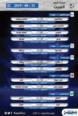 أبرز المباريات العالمية والعربية ليوم السبت 31 أغسطس 2019