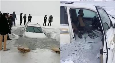 انهيار جليدي يُسقط 30 سيارة بروسيا
