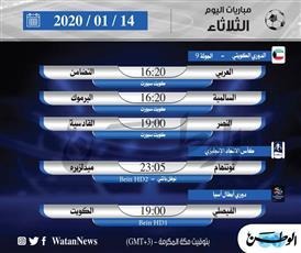أبرز المباريات المحلية والعالمية ليوم الثلاثاء 14 يناير 2020