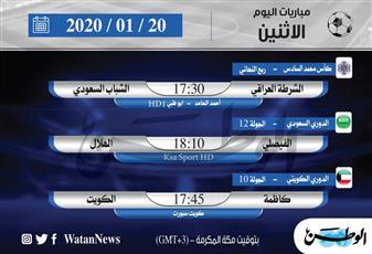 أبرز المباريات المحلية والعالمية ليوم الاثنين 20 يناير 2020