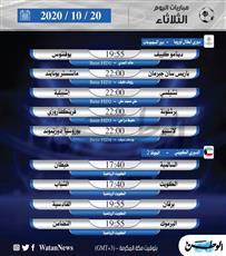 أبرز المباريات المحلية والعالمية ليوم الثلاثاء 20 أكتوبر 2020