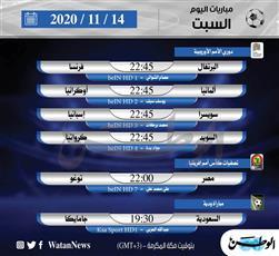 أبرز المباريات العالمية ليوم السبت 14 نوفمبر 2020