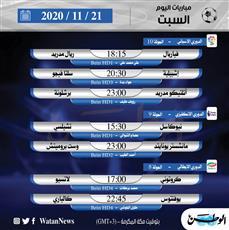 أبرز المباريات المحلية والعالمية ليوم السبت 21 نوفمبر 2020