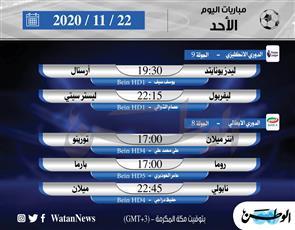أبرز المباريات العالمية ليوم الأحد 22 نوفمبر 2020