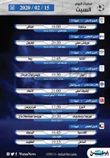 أبرز المباريات المحلية والعالمية ليوم السبت 15 فبراير 2020