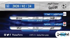 أبرز المباريات العربية والعالمية ليوم الاثنين 24 فبراير 2020