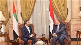 وزير الخارجية الإماراتي الشيخ عبدالله بن زايد ووزير الخارجية المصري سامح شكري